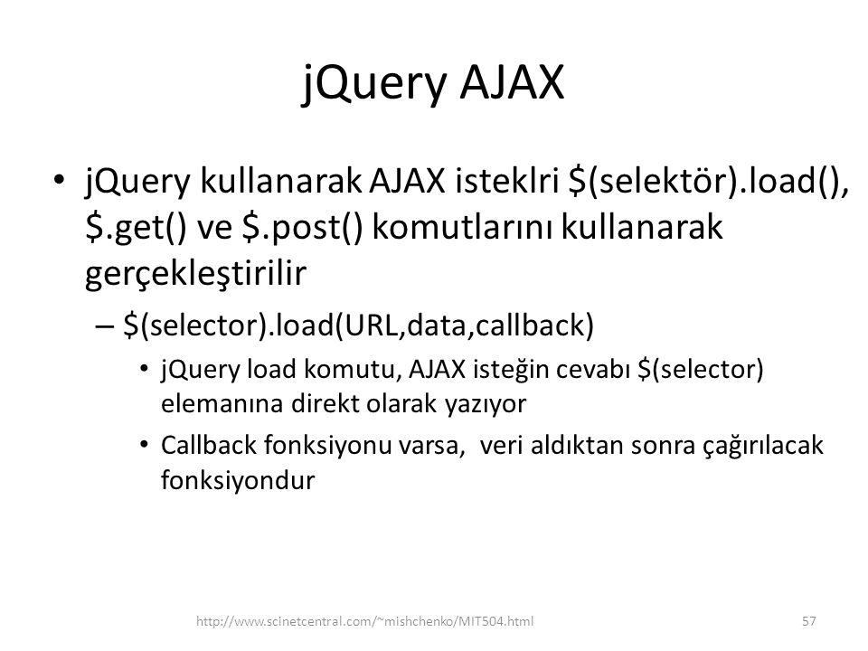 jQuery AJAX jQuery kullanarak AJAX isteklri $(selektör).load(), $.get() ve $.post() komutlarını kullanarak gerçekleştirilir.