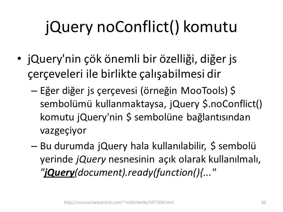 jQuery noConflict() komutu