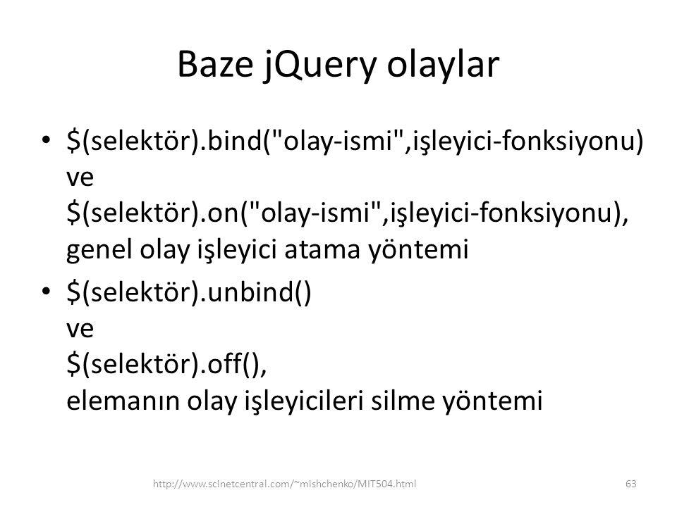Baze jQuery olaylar