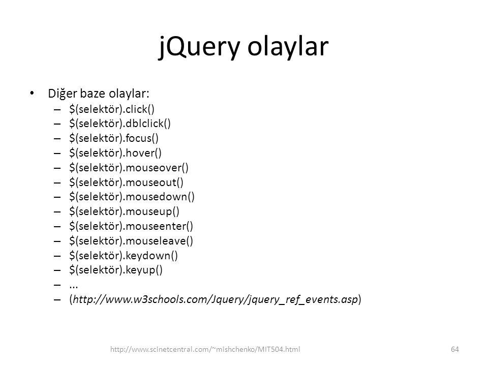 jQuery olaylar Diğer baze olaylar: $(selektör).click()