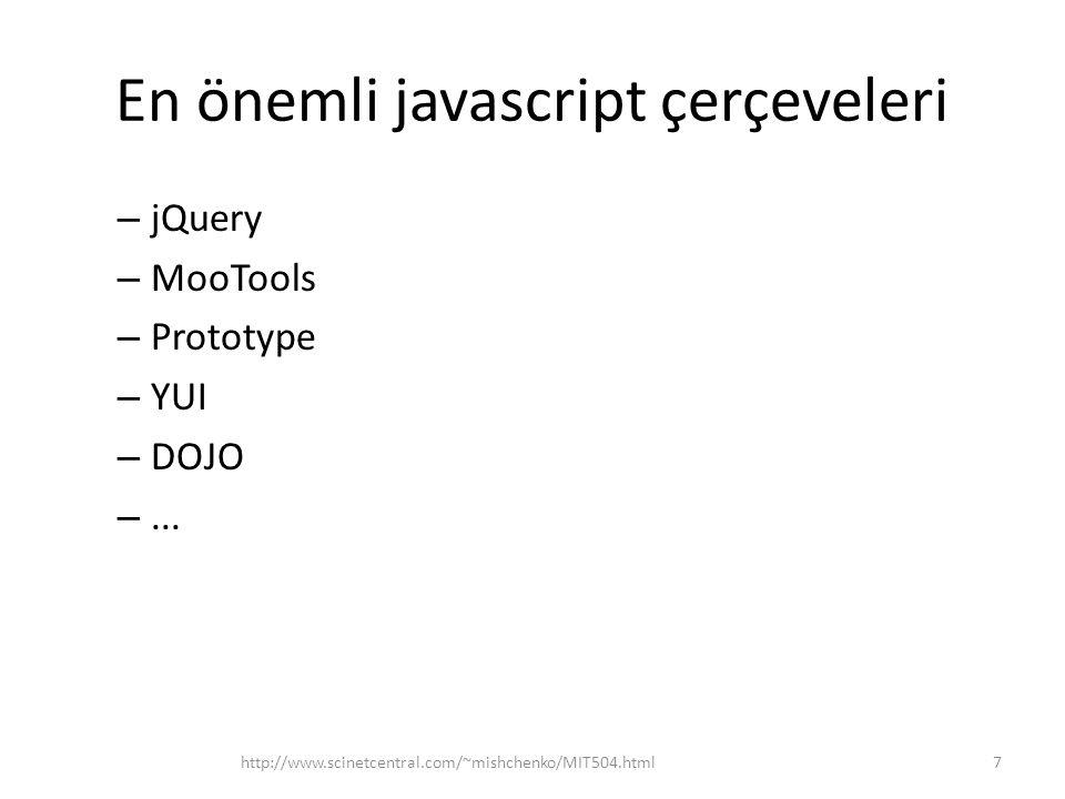En önemli javascript çerçeveleri