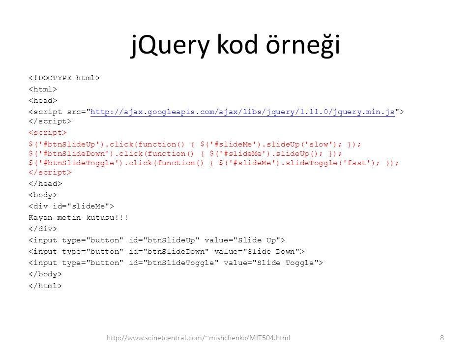 jQuery kod örneği