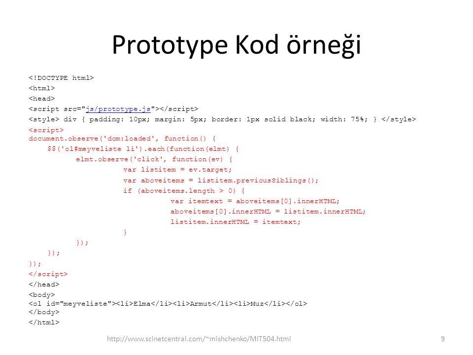 Prototype Kod örneği
