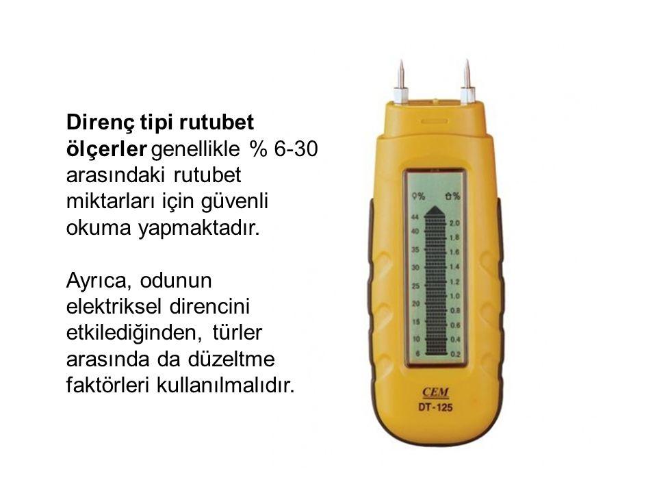 Direnç tipi rutubet ölçerler genellikle % 6-30 arasındaki rutubet miktarları için güvenli okuma yapmaktadır.