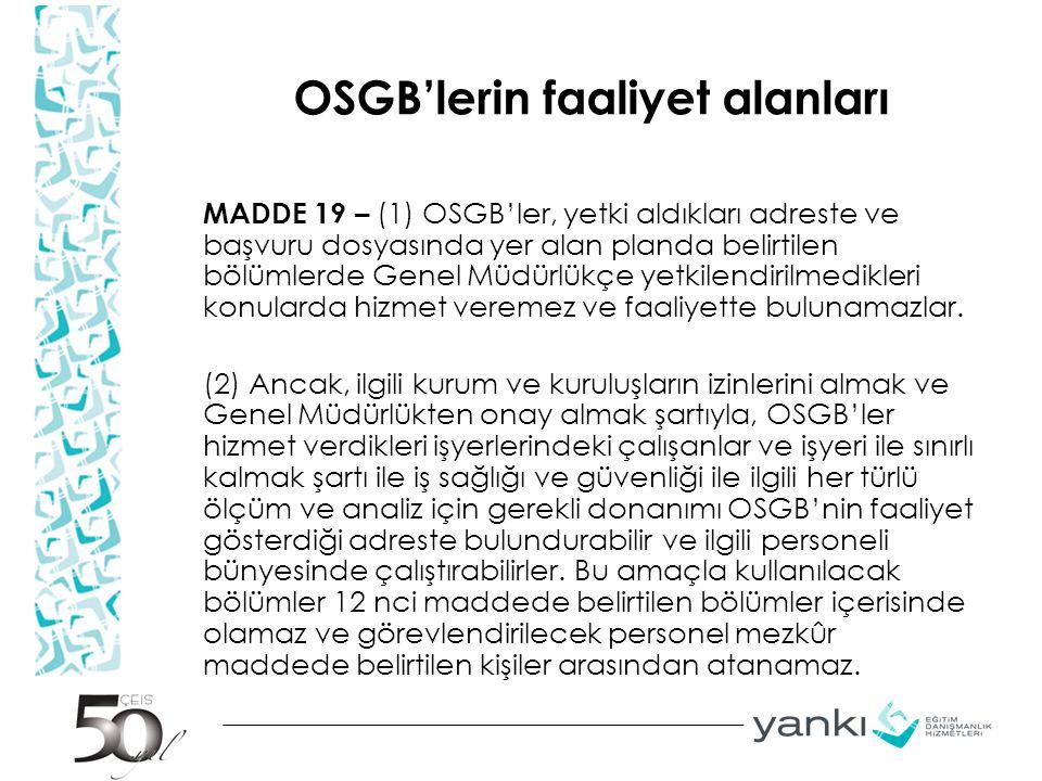 OSGB'lerin faaliyet alanları