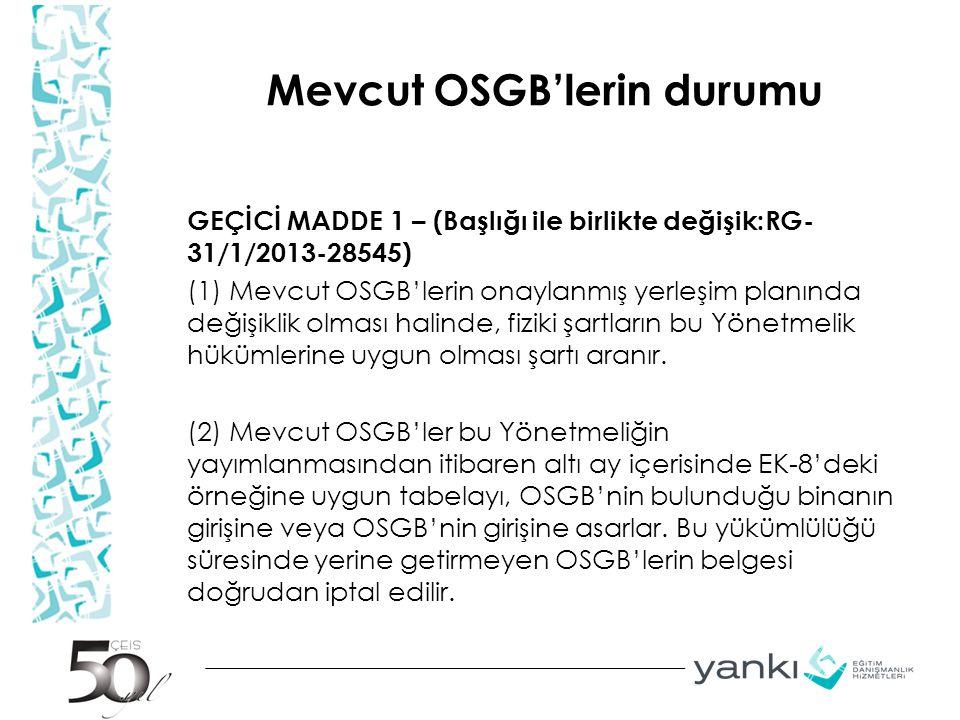 Mevcut OSGB'lerin durumu
