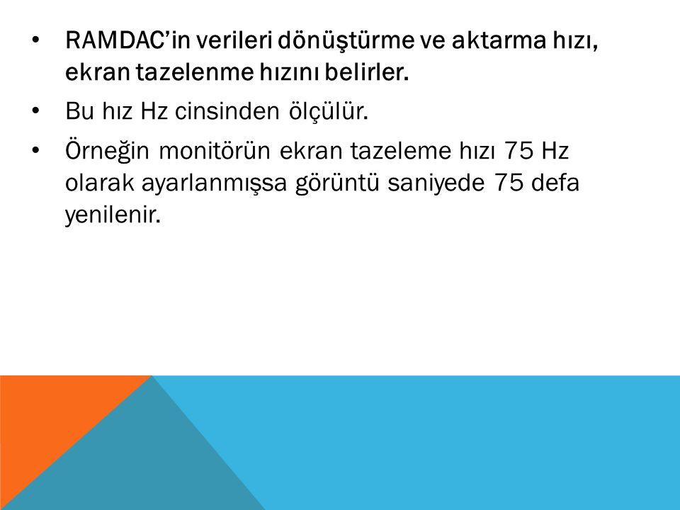 RAMDAC'in verileri dönüştürme ve aktarma hızı, ekran tazelenme hızını belirler.