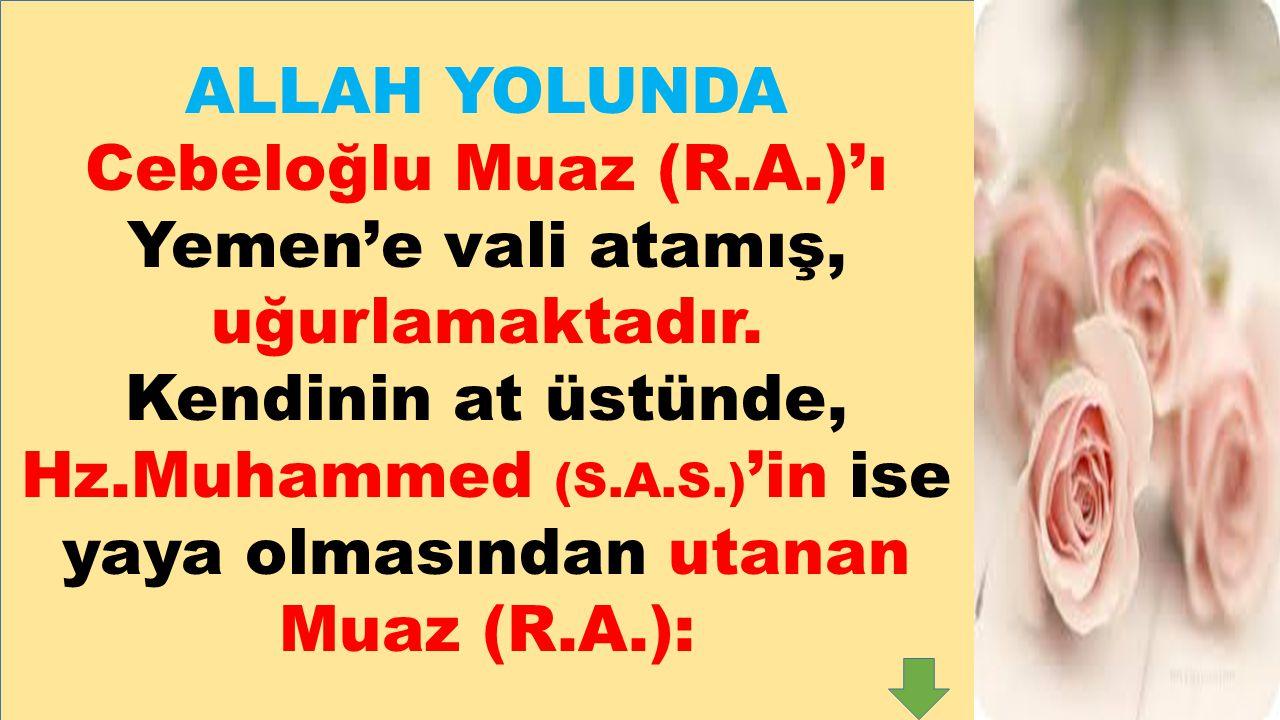 Hz.Muhammed (S.A.S.)'in ise yaya olmasından utanan Muaz (R.A.):