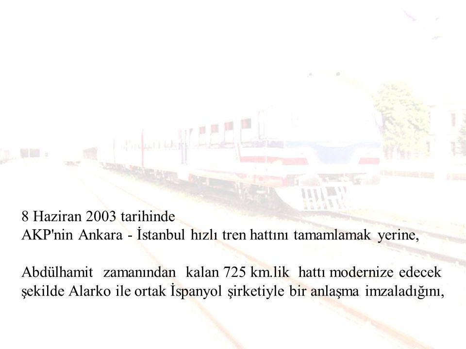 8 Haziran 2003 tarihinde AKP nin Ankara - İstanbul hızlı tren hattını tamamlamak yerine,
