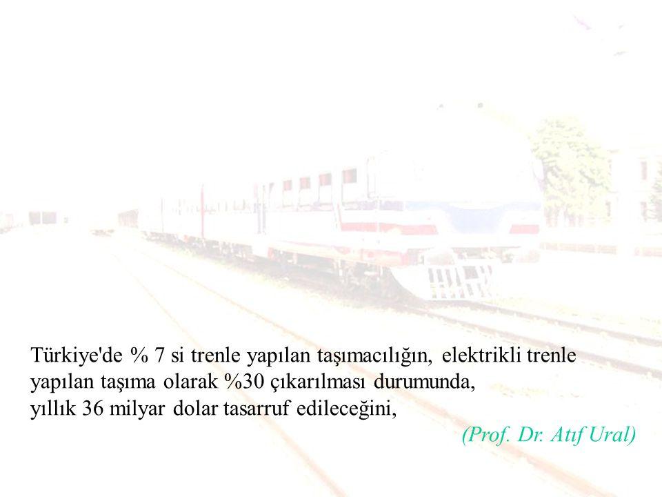 Türkiye de % 7 si trenle yapılan taşımacılığın, elektrikli trenle yapılan taşıma olarak %30 çıkarılması durumunda,