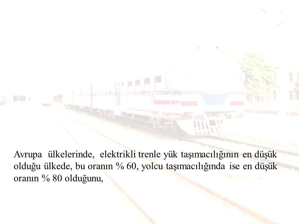 Avrupa ülkelerinde, elektrikli trenle yük taşımacılığının en düşük olduğu ülkede, bu oranın % 60, yolcu taşımacılığında ise en düşük oranın % 80 olduğunu,