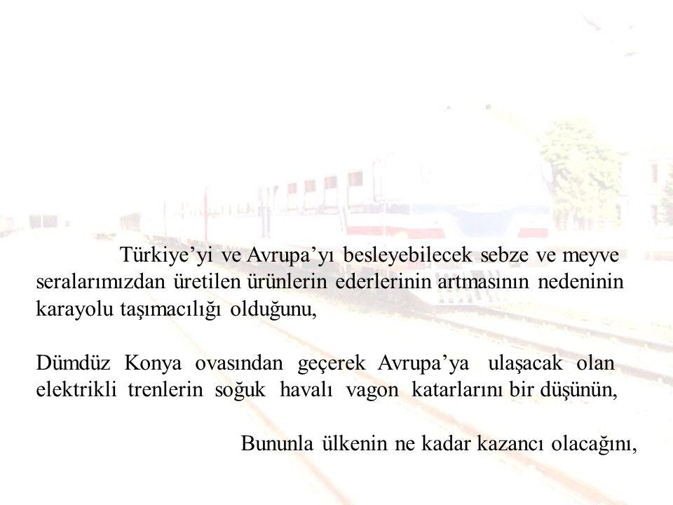 Türkiye'yi ve Avrupa'yı besleyebilecek sebze ve meyve seralarımızdan üretilen ürünlerin ederlerinin artmasının nedeninin karayolu taşımacılığı olduğunu,