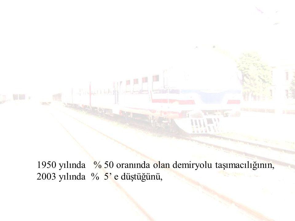 1950 yılında %50 oranında olan demiryolu taşımacılığının, 2003 yılında %5 e düştüğünü,