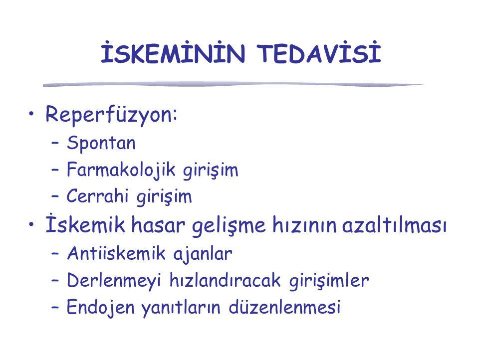 İSKEMİNİN TEDAVİSİ Reperfüzyon: