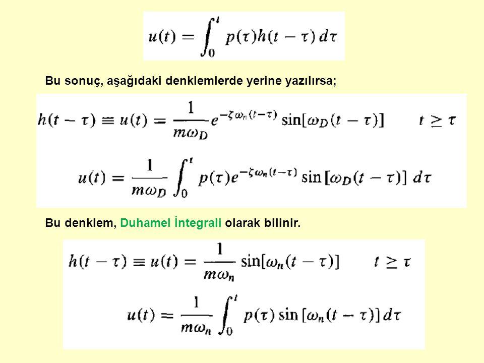 Bu sonuç, aşağıdaki denklemlerde yerine yazılırsa;