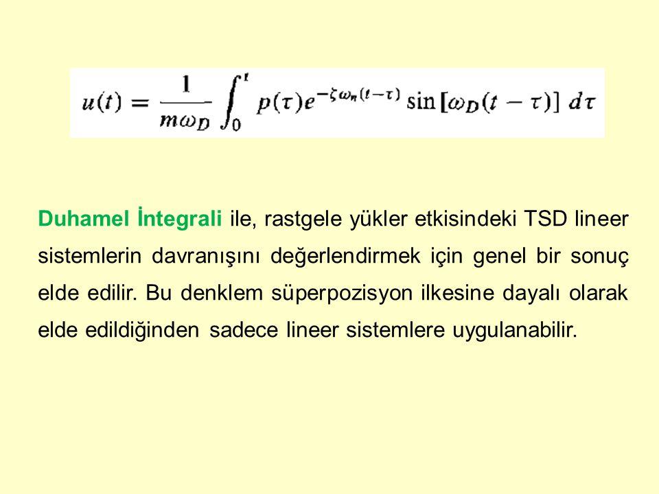 Duhamel İntegrali ile, rastgele yükler etkisindeki TSD lineer sistemlerin davranışını değerlendirmek için genel bir sonuç elde edilir.