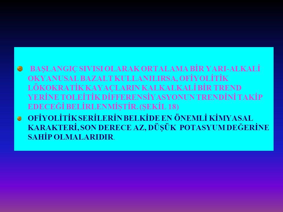 BAŞLANGIÇ SIVISI OLARAK ORTALAMA BİR YARI-ALKALİ OKYANUSAL BAZALT KULLANILIRSA, OFİYOLİTİK LÖKOKRATİK KAYAÇLARIN KALKALKALİ BİR TREND YERİNE TOLEİTİK DİFFERENSİYASYONUN TRENDİNİ TAKİP EDECEĞİ BELİRLENMİŞTİR. (ŞEKİL 18)
