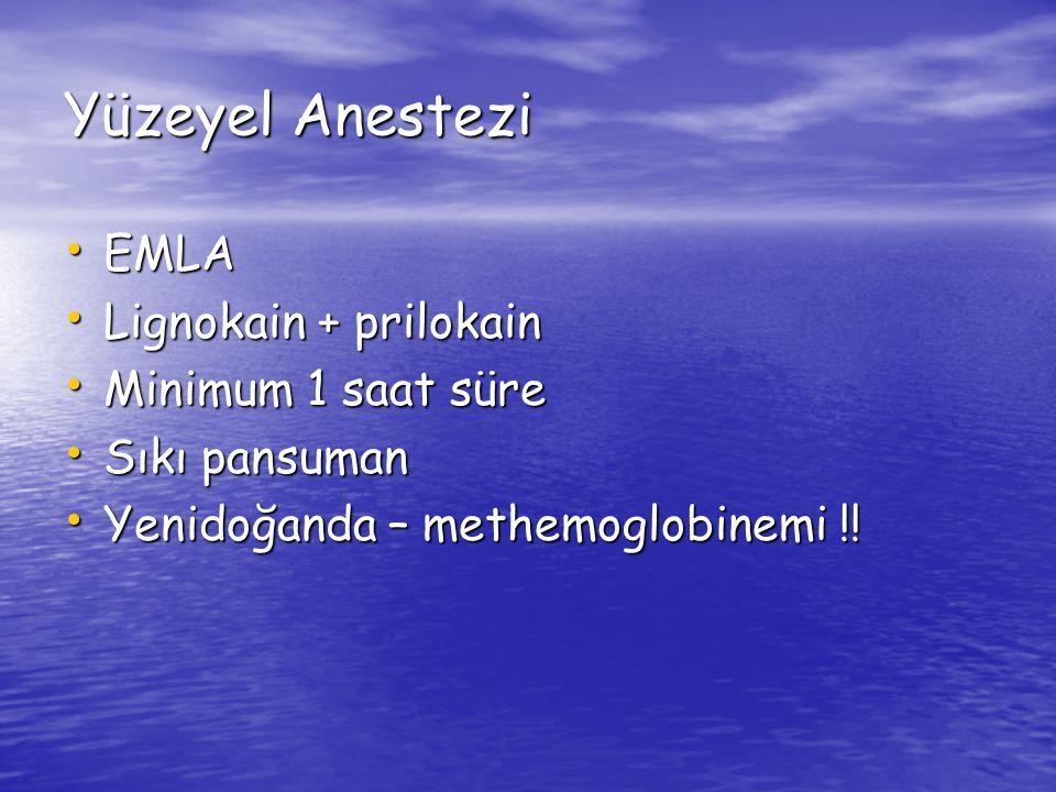 Yüzeyel Anestezi EMLA Lignokain + prilokain Minimum 1 saat süre