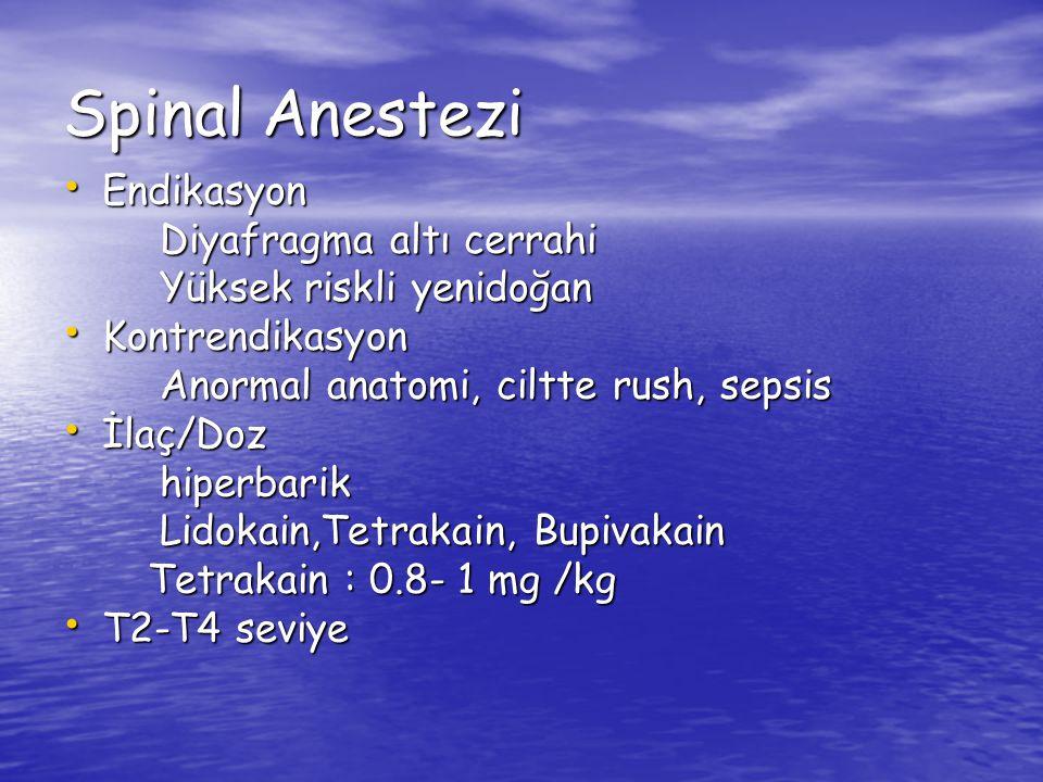 Spinal Anestezi Endikasyon Diyafragma altı cerrahi