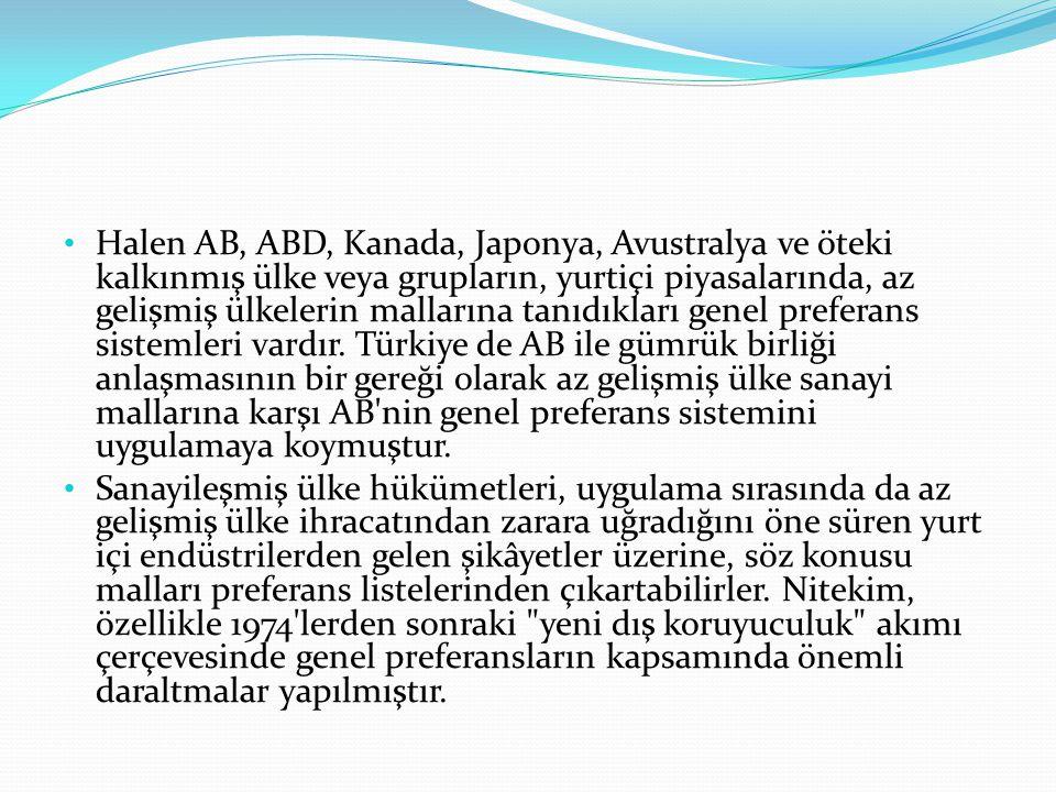 Halen AB, ABD, Kanada, Japonya, Avustralya ve öteki kalkınmış ülke veya grupların, yurtiçi piyasalarında, az gelişmiş ülkelerin mallarına tanıdıkları genel preferans sistemleri vardır. Türkiye de AB ile gümrük birliği anlaşmasının bir gereği olarak az gelişmiş ülke sanayi mallarına karşı AB nin genel preferans sistemini uygulamaya koymuştur.