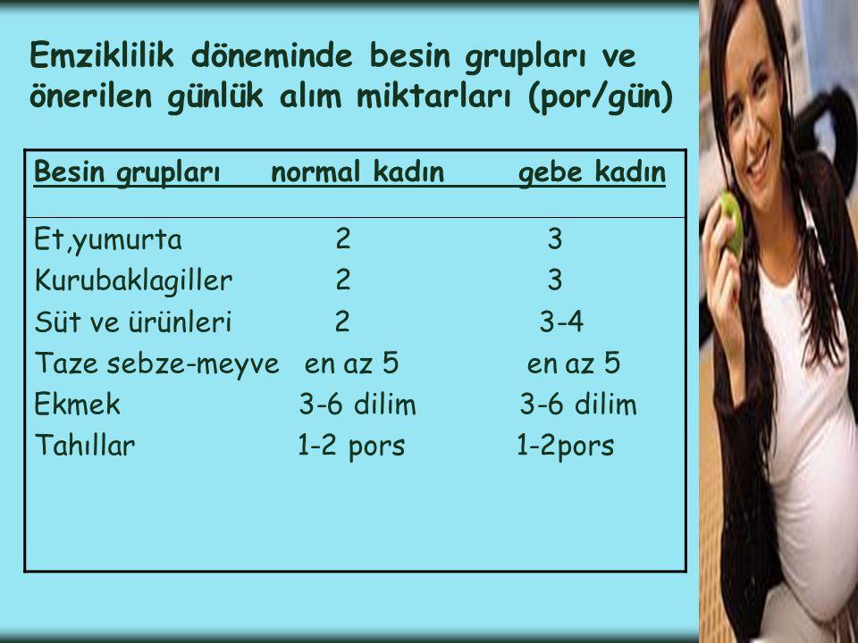 Emziklilik döneminde besin grupları ve önerilen günlük alım miktarları (por/gün)