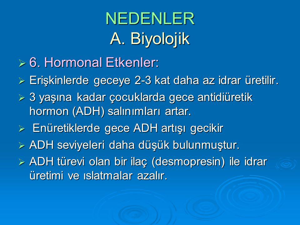 NEDENLER A. Biyolojik 6. Hormonal Etkenler: