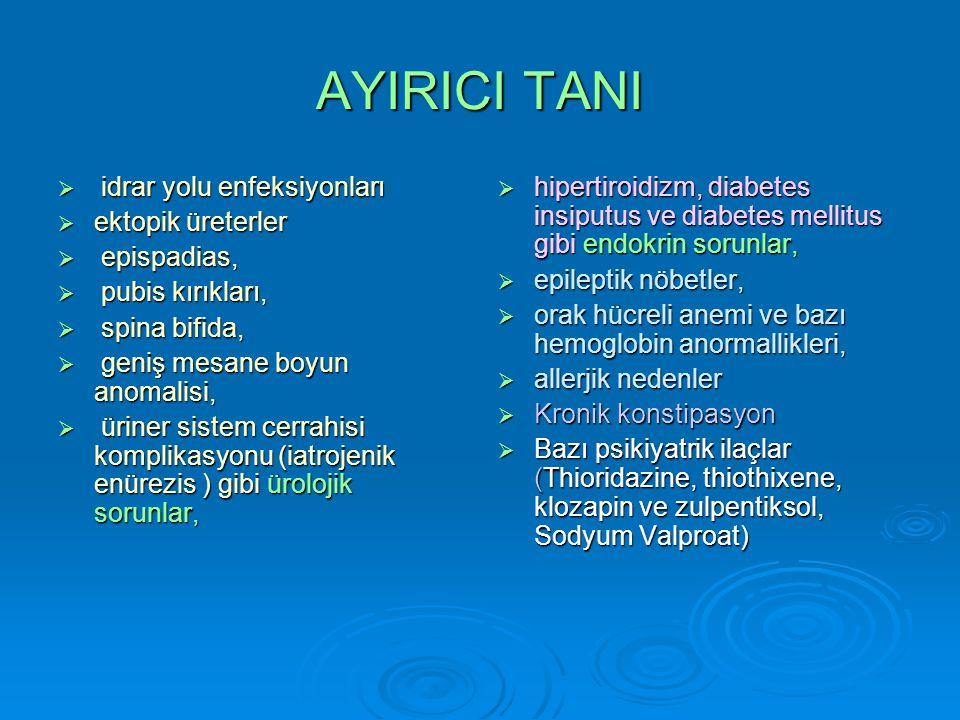 AYIRICI TANI idrar yolu enfeksiyonları ektopik üreterler epispadias,