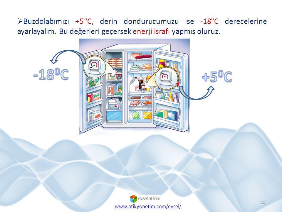 Buzdolabımızı +5°C, derin dondurucumuzu ise -18°C derecelerine ayarlayalım. Bu değerleri geçersek enerji israfı yapmış oluruz.