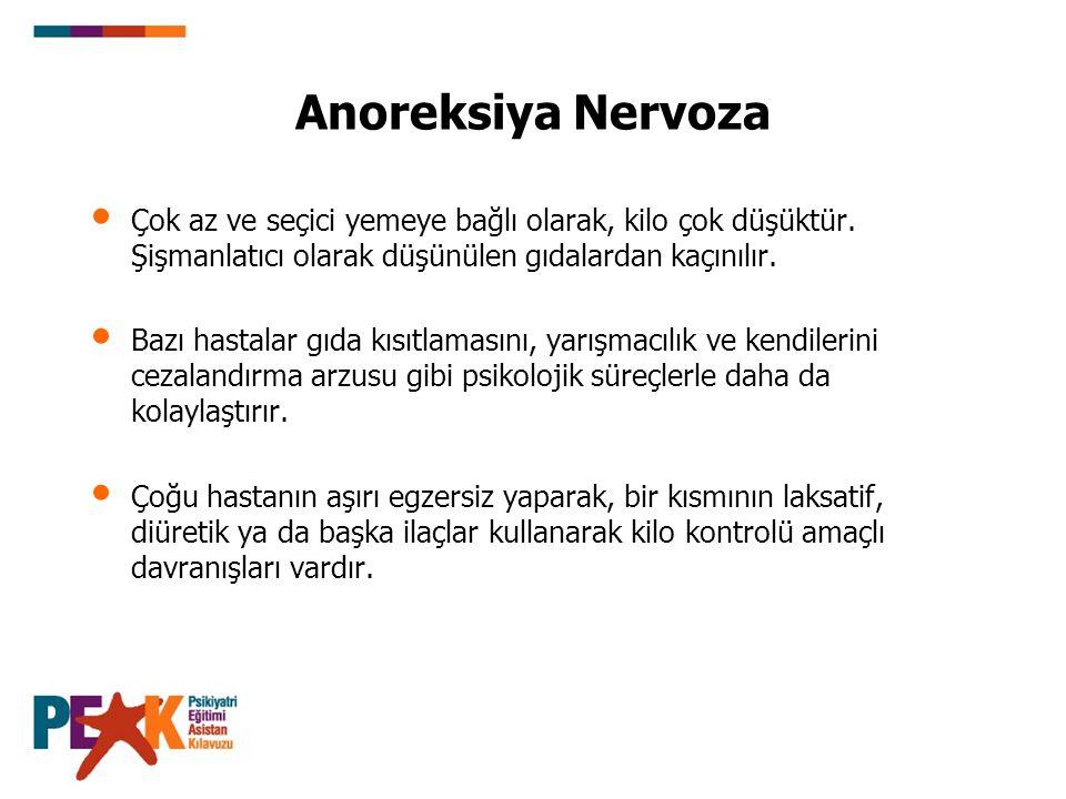 Anoreksiya Nervoza Çok az ve seçici yemeye bağlı olarak, kilo çok düşüktür. Şişmanlatıcı olarak düşünülen gıdalardan kaçınılır.
