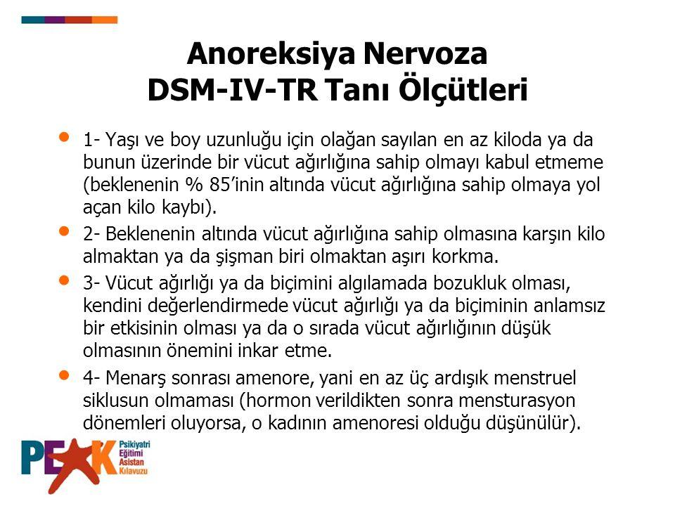 Anoreksiya Nervoza DSM-IV-TR Tanı Ölçütleri