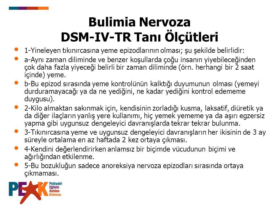 Bulimia Nervoza DSM-IV-TR Tanı Ölçütleri