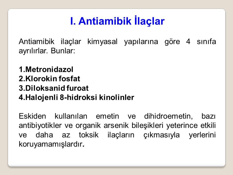 I. Antiamibik İlaçlar Antiamibik ilaçlar kimyasal yapılarına göre 4 sınıfa ayrılırlar. Bunlar: Metronidazol.