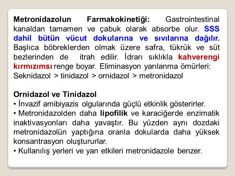 Metronidazolun Farmakokinetiği: Gastrointestinal kanaldan tamamen ve çabuk olarak absorbe olur. SSS dahil bütün vücut dokularına ve sıvılarına dağılır. Başlıca böbreklerden olmak üzere safra, tükrük ve süt bezlerinden de itrah edilir. İdrarı sıklıkla kahverengi kırmızımsı renge boyar. Eliminasyon yarılanma ömürleri: