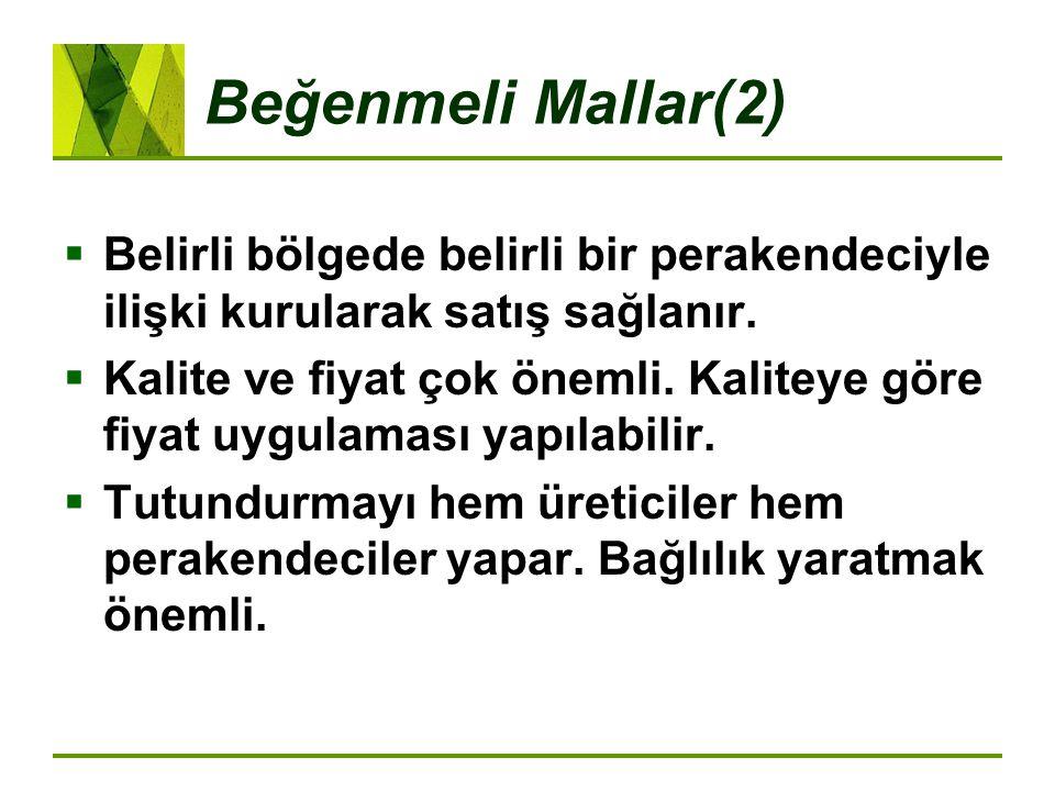 Beğenmeli Mallar(2) Belirli bölgede belirli bir perakendeciyle ilişki kurularak satış sağlanır.