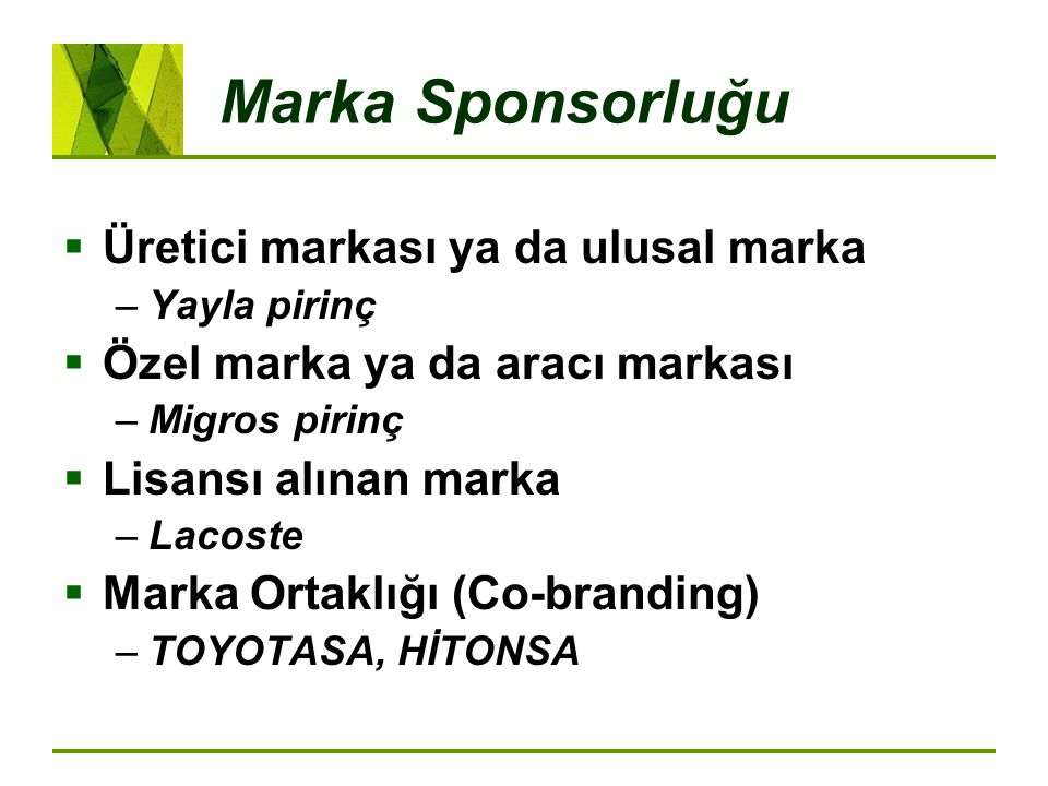 Marka Sponsorluğu Üretici markası ya da ulusal marka