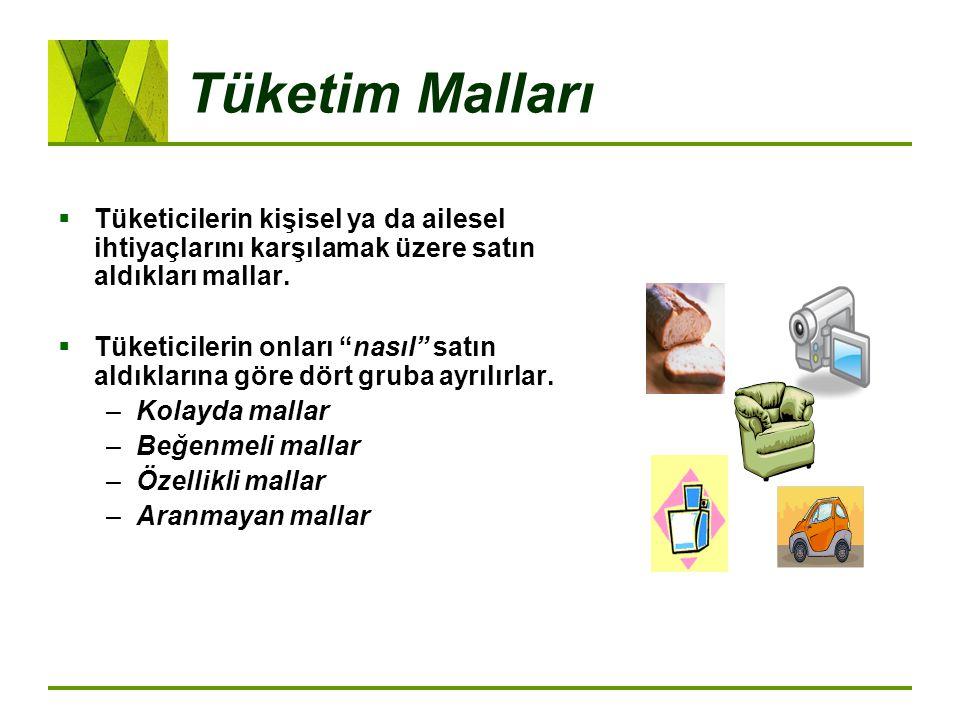 Tüketim Malları Tüketicilerin kişisel ya da ailesel ihtiyaçlarını karşılamak üzere satın aldıkları mallar.