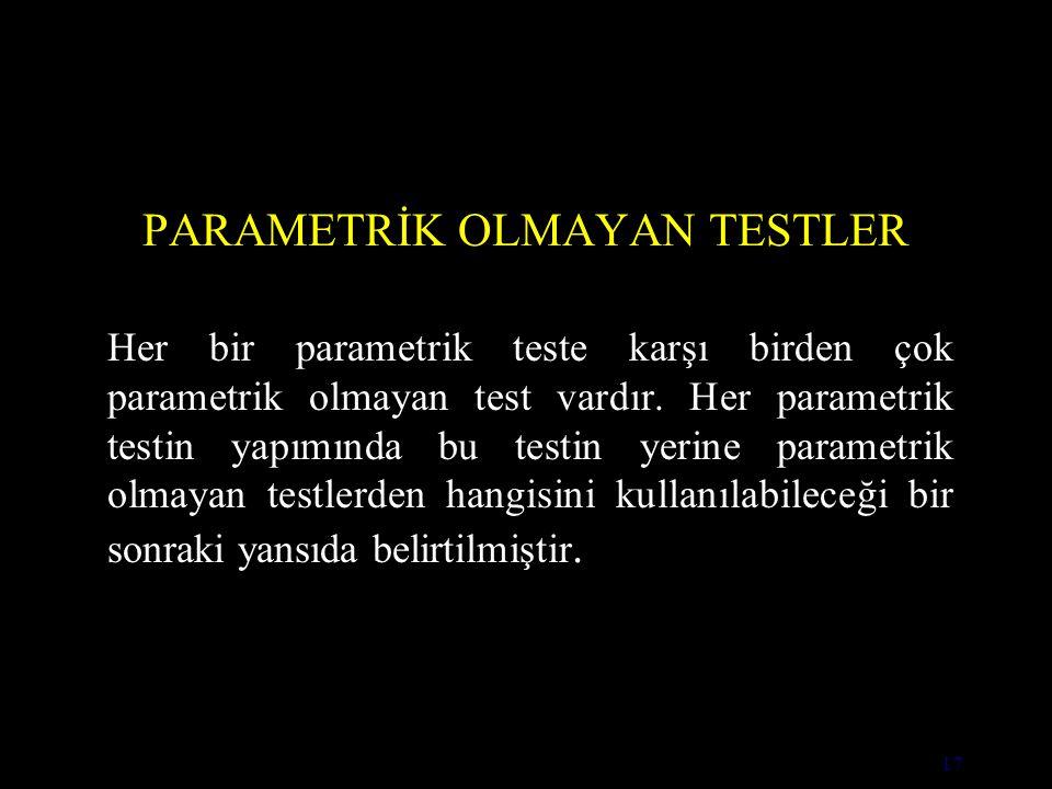 PARAMETRİK OLMAYAN TESTLER