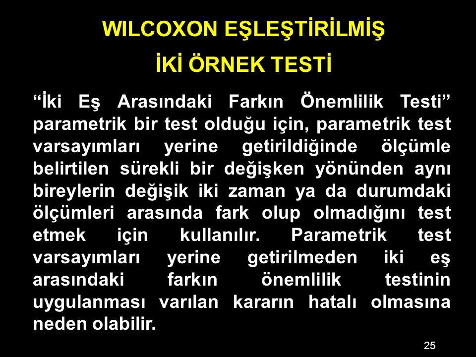 WILCOXON EŞLEŞTİRİLMİŞ