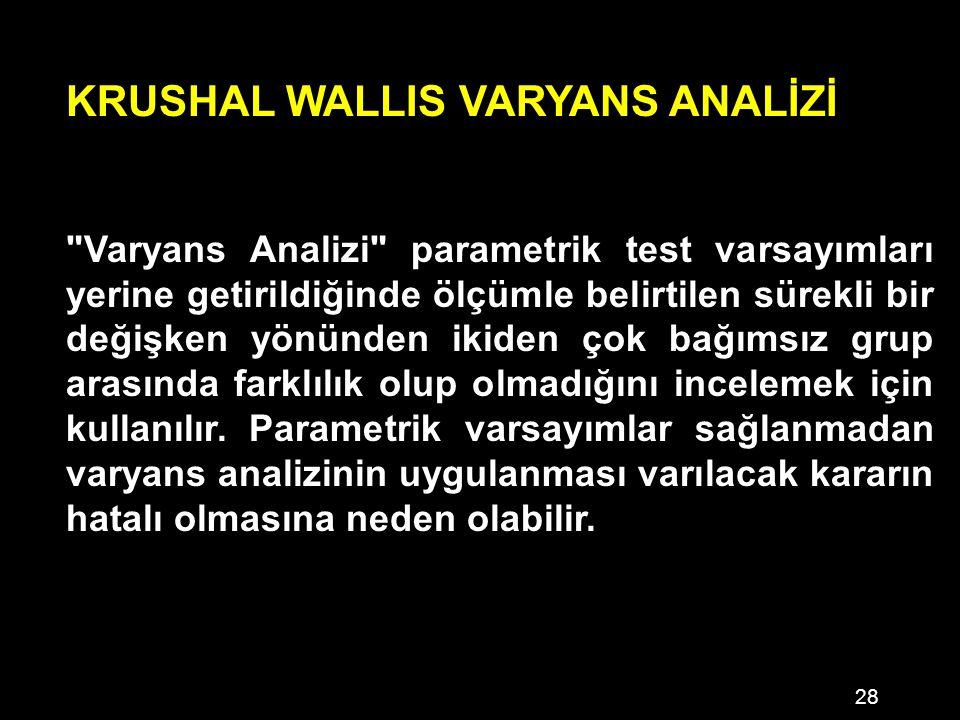 KRUSHAL WALLIS VARYANS ANALİZİ