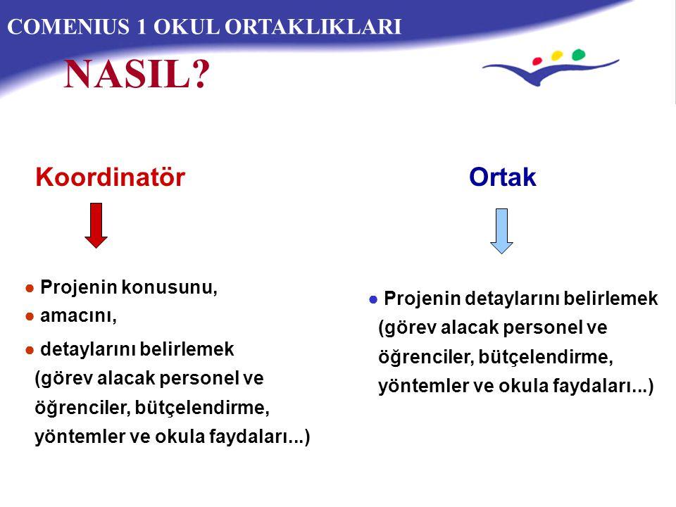 NASIL Koordinatör Ortak COMENIUS 1 OKUL ORTAKLIKLARI