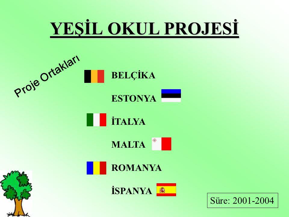 YEŞİL OKUL PROJESİ Proje Ortakları BELÇİKA ESTONYA İTALYA MALTA