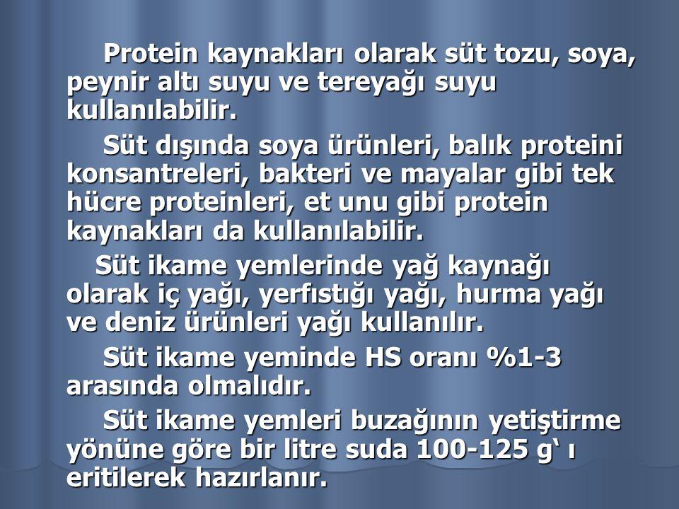 Protein kaynakları olarak süt tozu, soya, peynir altı suyu ve tereyağı suyu kullanılabilir.