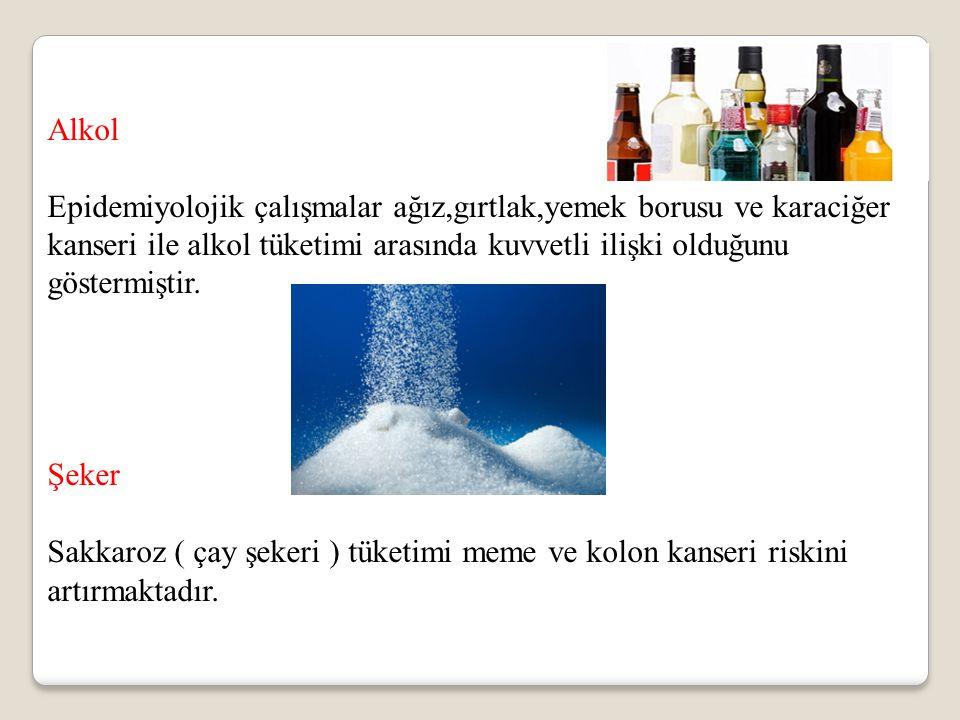Alkol Epidemiyolojik çalışmalar ağız,gırtlak,yemek borusu ve karaciğer kanseri ile alkol tüketimi arasında kuvvetli ilişki olduğunu göstermiştir.