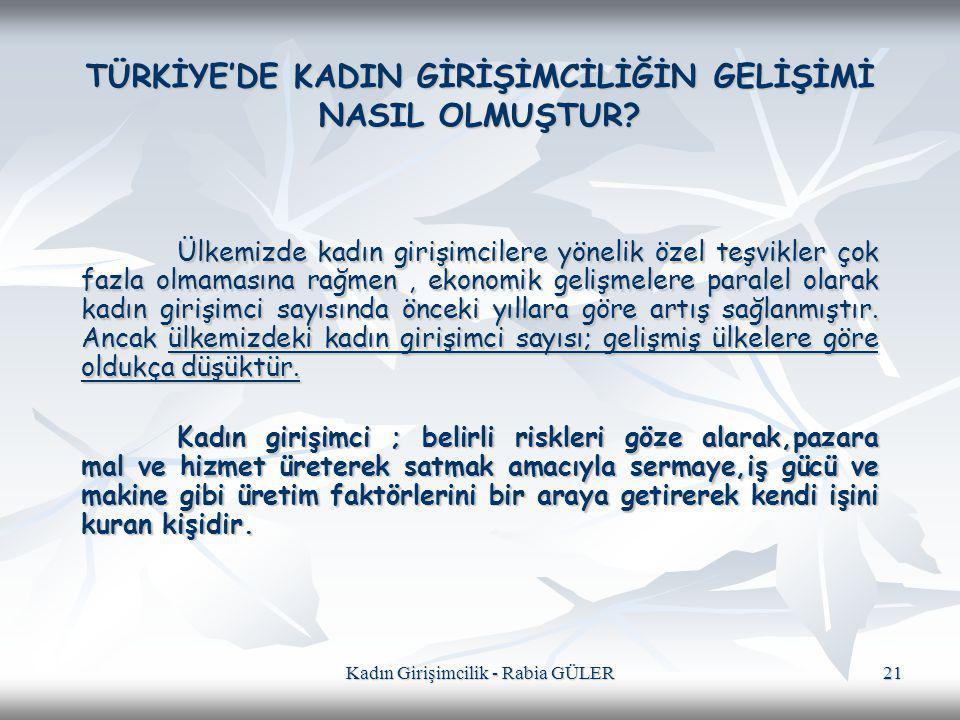 TÜRKİYE'DE KADIN GİRİŞİMCİLİĞİN GELİŞİMİ NASIL OLMUŞTUR