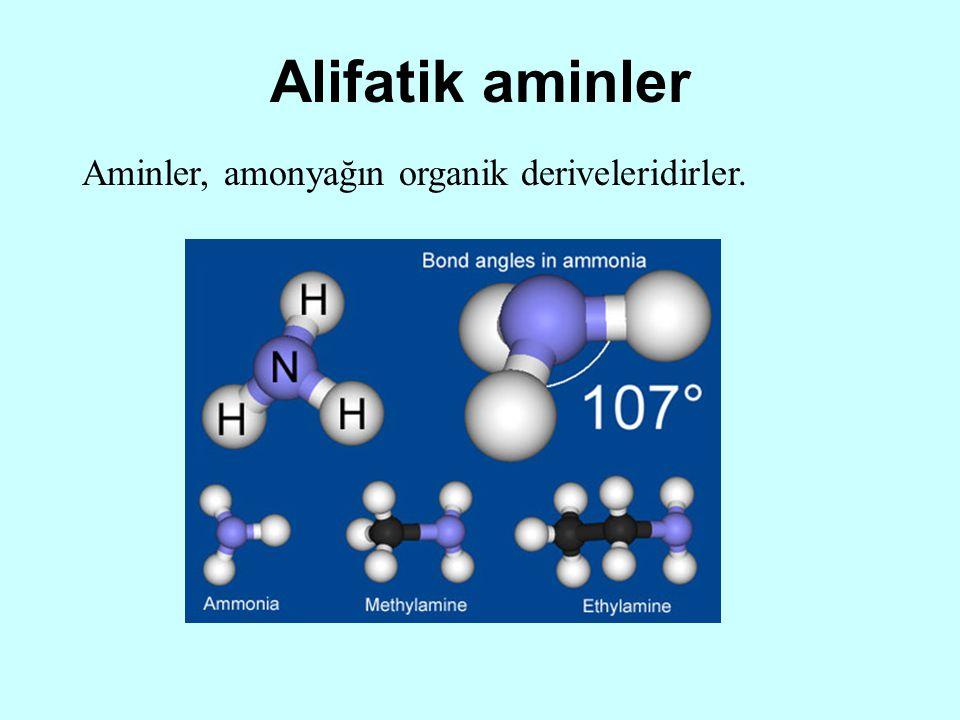 Alifatik aminler Aminler, amonyağın organik deriveleridirler.