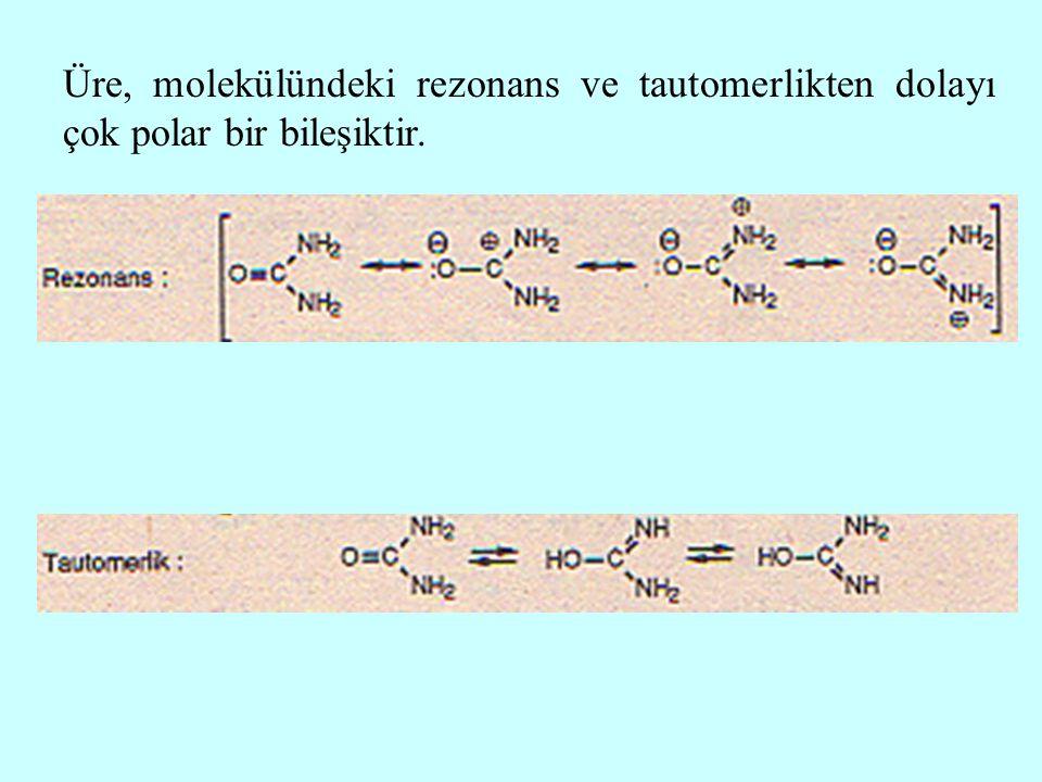 Üre, molekülündeki rezonans ve tautomerlikten dolayı çok polar bir bileşiktir.