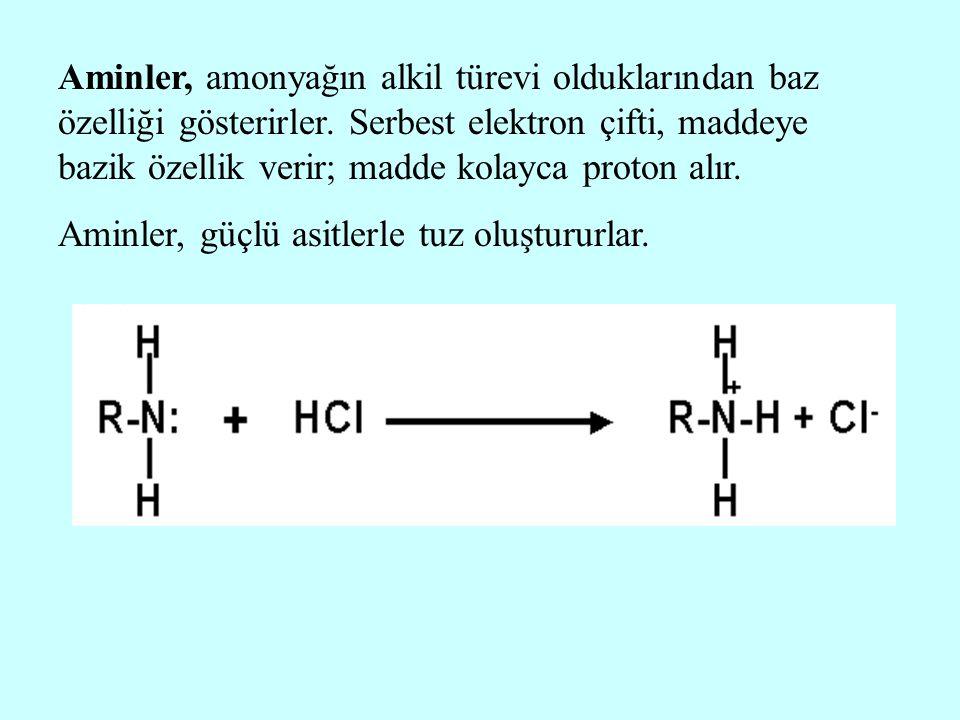 Aminler, amonyağın alkil türevi olduklarından baz özelliği gösterirler