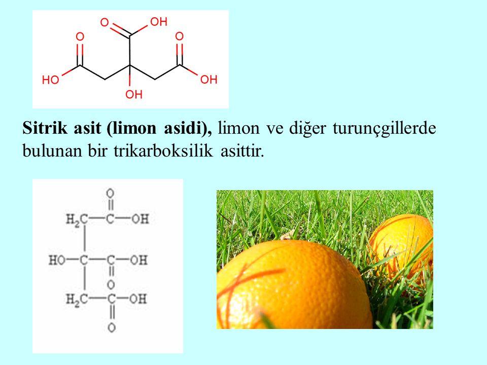 Sitrik asit (limon asidi), limon ve diğer turunçgillerde bulunan bir trikarboksilik asittir.