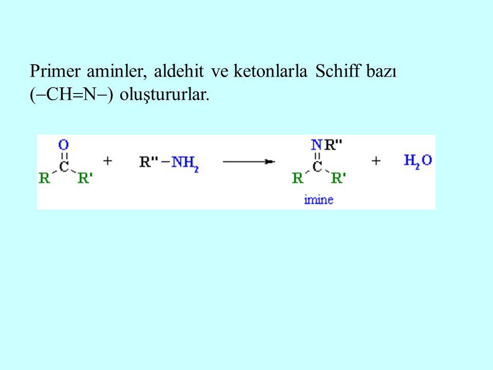 Primer aminler, aldehit ve ketonlarla Schiff bazı (CHN) oluştururlar.