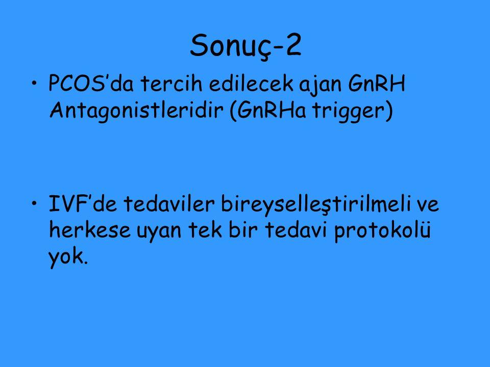 Sonuç-2 PCOS'da tercih edilecek ajan GnRH Antagonistleridir (GnRHa trigger)